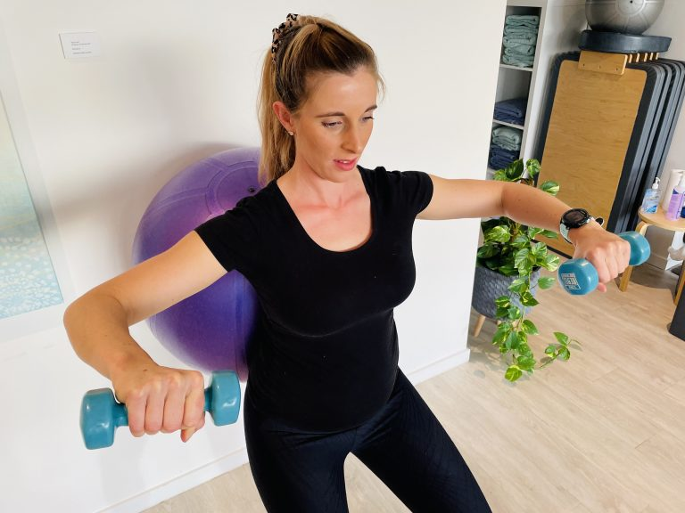 pregnancy exercises - standing and weights